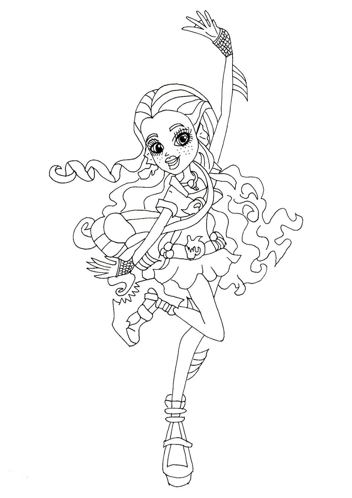 PLEASE CLICK HERE TO PRINT Free Printable Monster High Lagoona Blue Ghouls Night Out Coloring Page