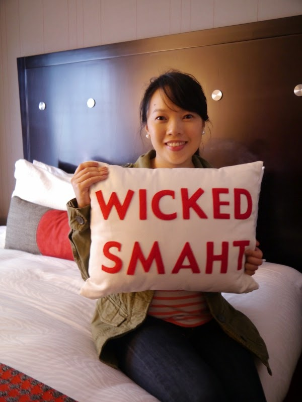 Wicked Smaht pillow at Onyx Kimpton Hotel, Boston