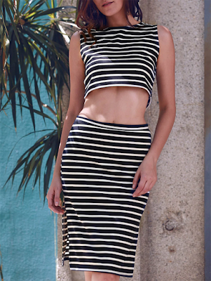 Stylish Sleeveless Crop Top and Striped Skirt Suit For Women