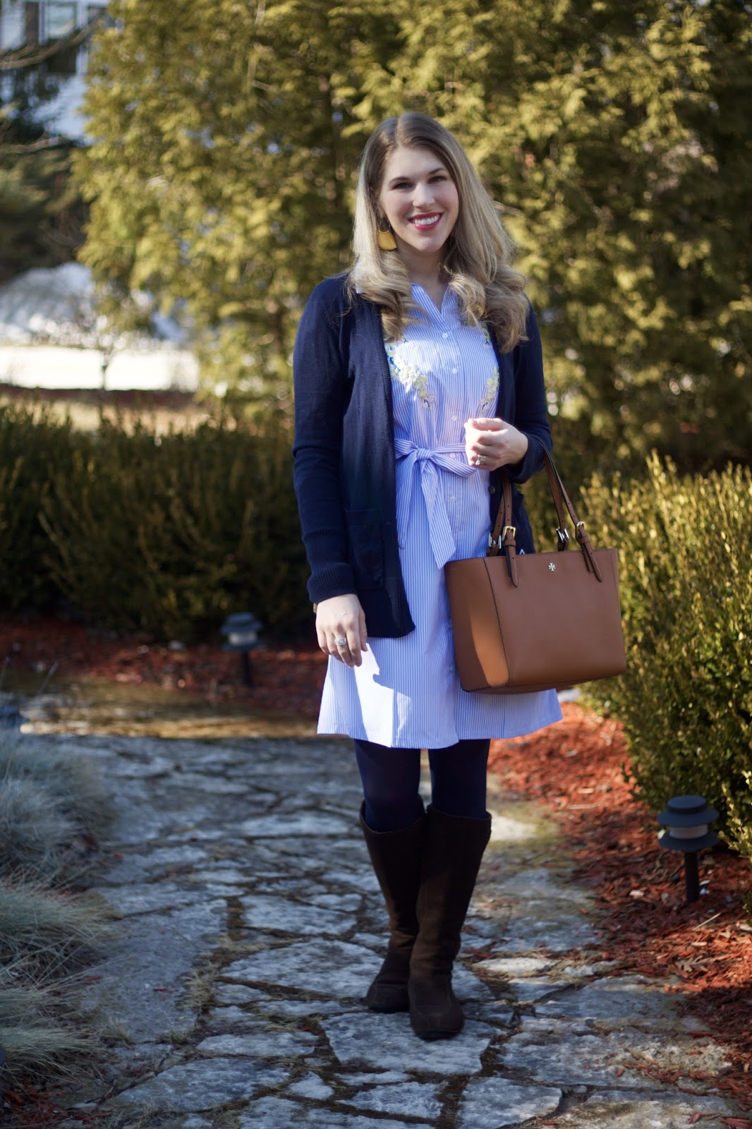 embroidered pinstripe dress, navy cardigan, brown suede riding boots, yellow tassel earrings