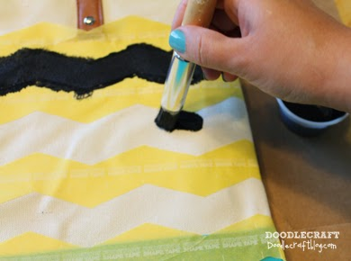 Doodlecraft Colorblock Chevron Tote With Frogtape 174