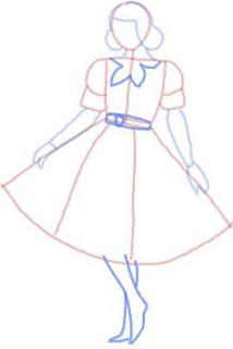 Langkah 6. Sketsa Cepat Gaun Rok Payung Pendek