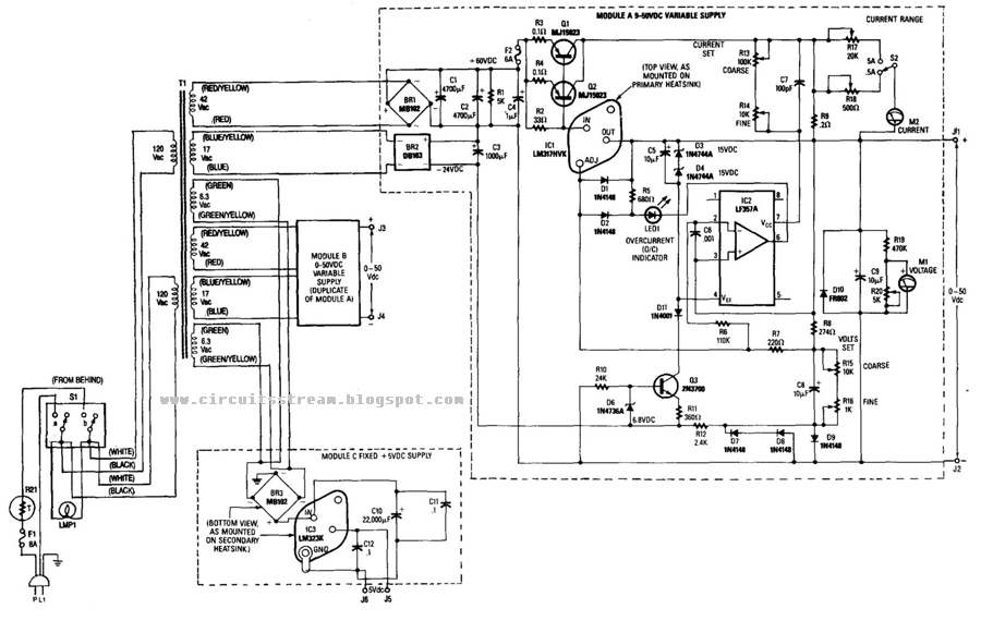 Simple Dual 50V/5A Universal Power Supply Circuit Diagram