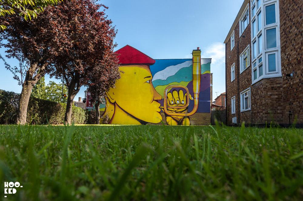 Italian Street Artist Giacomo Bufarini's Woodstreet Walls Mural in Walthamstow,London,E17