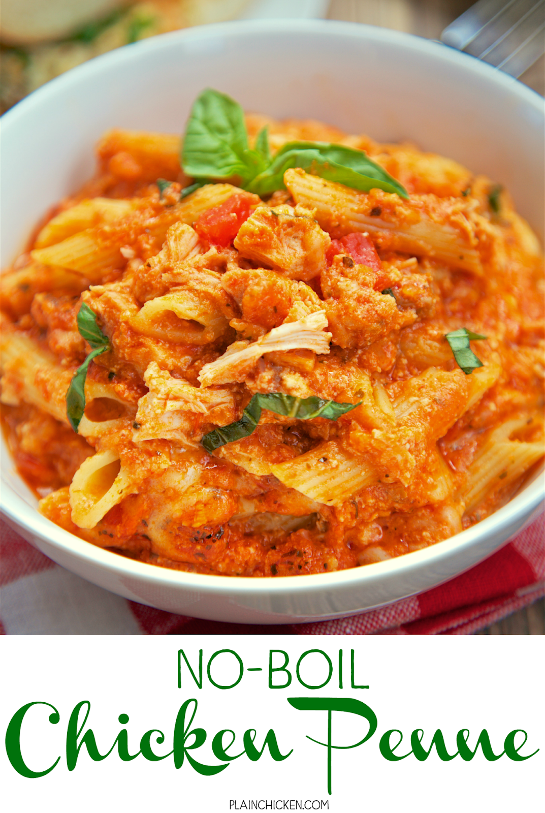 No-Boil Chicken Penne - cooked chicken, pasta sauce, ricotta, basil, mozzarella and parmesan cheese. Everything bakes in the oven, even the pasta! This makes a lot. We ate it for dinner and lunch the next day. It was equally delicious reheated. Serve with with some crusty garlic bread and a salad for an easy weeknight meal! The whole family gobbled this up!