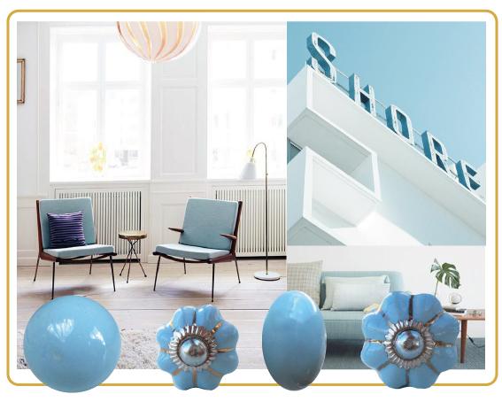 bouton de meuble bleu, esprit scandinave