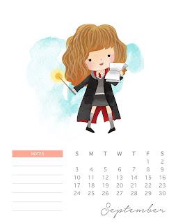 Calendario 2017 de  Harry Potter  para Imprimir Gratis  Septiembre.