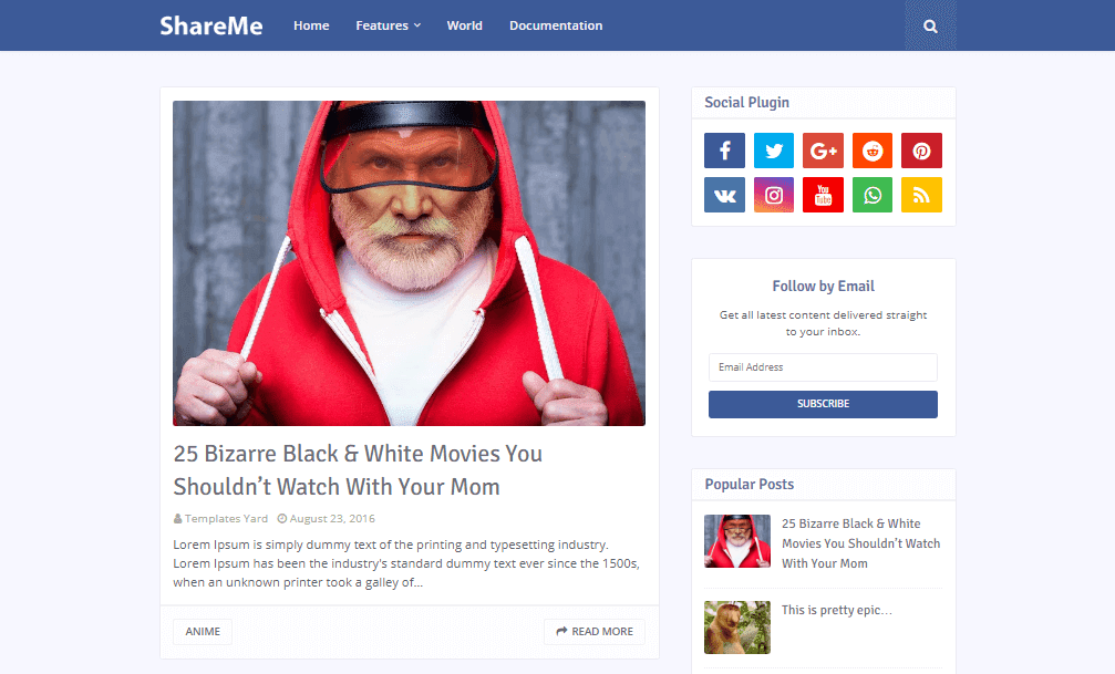ShareMe Social Media Blogger Template