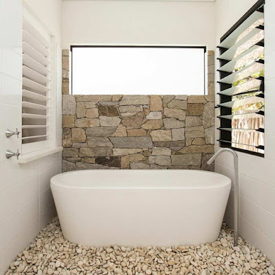 Modern bathroom with stone, stone wall for bathroom