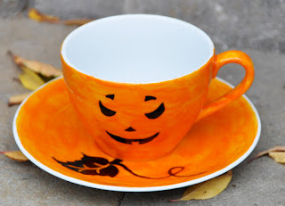 cup of tea tasse de thé halloween citrouille