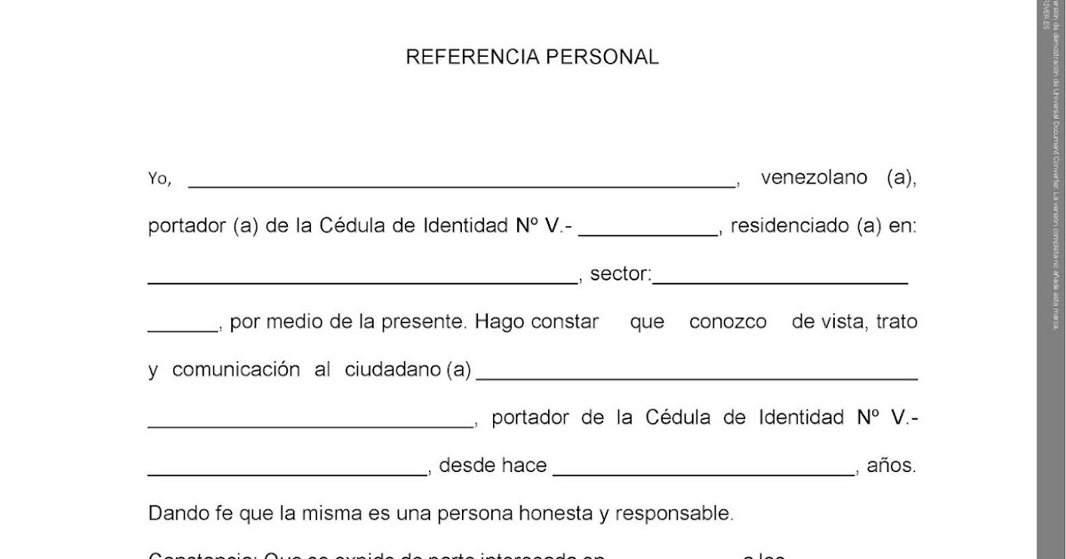 Formato De Referencia Personal Formato Descargable