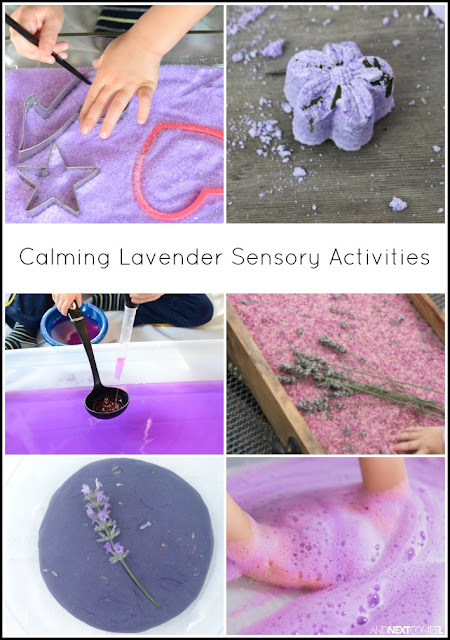 Calming lavender scented sensory activities for kids from And Next Comes L