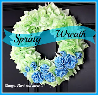 a diy fabric rag wreath done with diy fabric rosettes