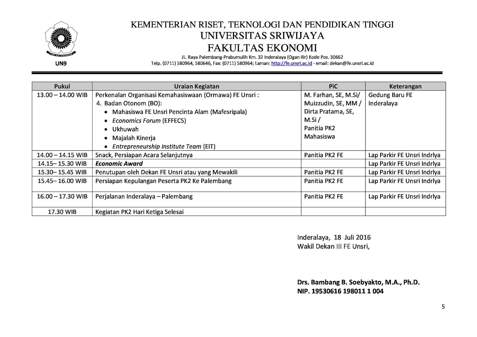 Jadwal Kegiatan PK2 Mahasiswa Baru FE Unsri Tahun 2016 ...