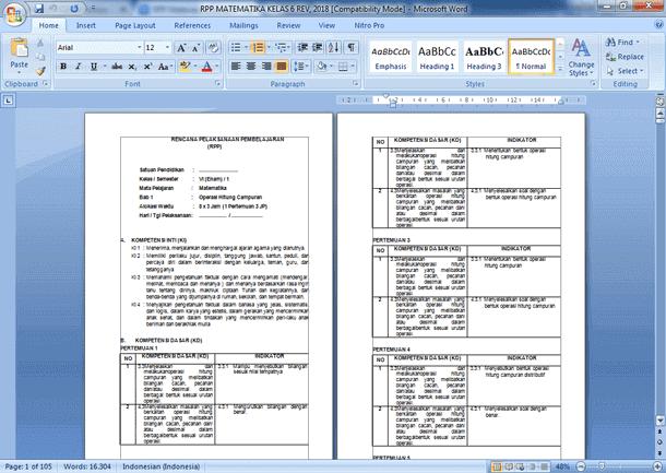 Contoh RPP Matematika Kelas 6 SD Semester 1 Kurikulum 2013 Revisi Terbaru