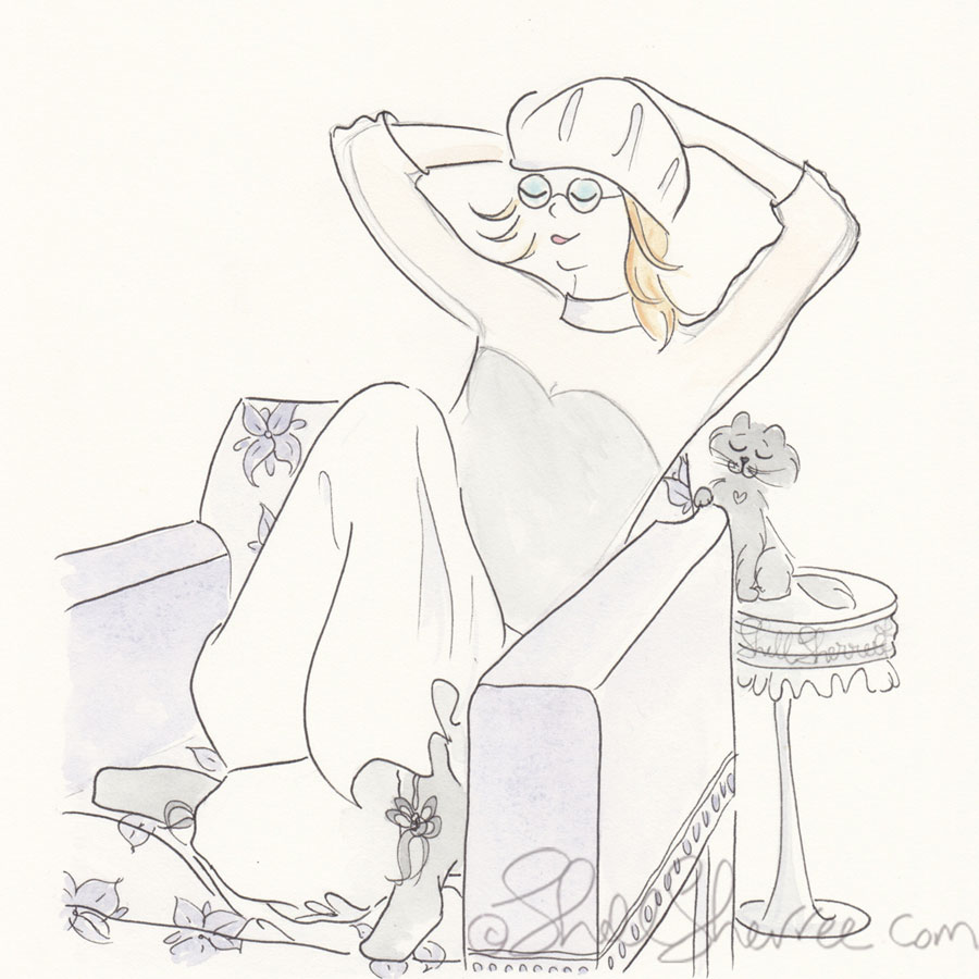 Fashion and fluffballs illustration Lilac Seventies-Style Slouching  © Shell-Sherree