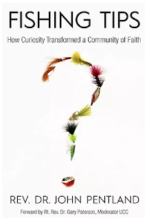 "Cover of ""Fishing Tips: How Curiosity Transformed a Community of Faith"", by Rev. Dr. John Pentland. Has image of question mark made of up fish flies."