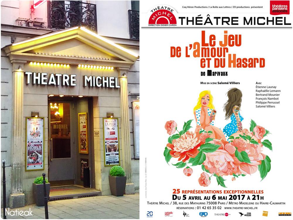 Le jeu de l'amour et du hasard de Marivaux  Théâtre Michel Paris