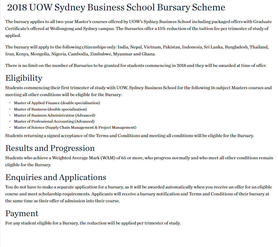 UOW Sydney Business School Bursary Scheme in Australia