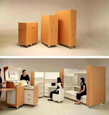 Rekaan Moden, Unik, Kreatif dan Menarik Perabot di Ruang Tamu, Bilik Dan Pejabat - perabot berubah bentuk