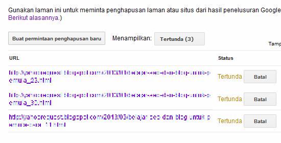 Daftar antrian URL yang akan dihapus