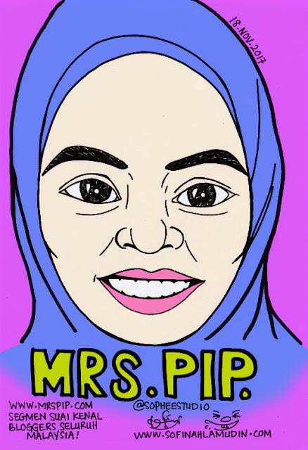 Potret kartun Mrs Pip dari Sophee Studio