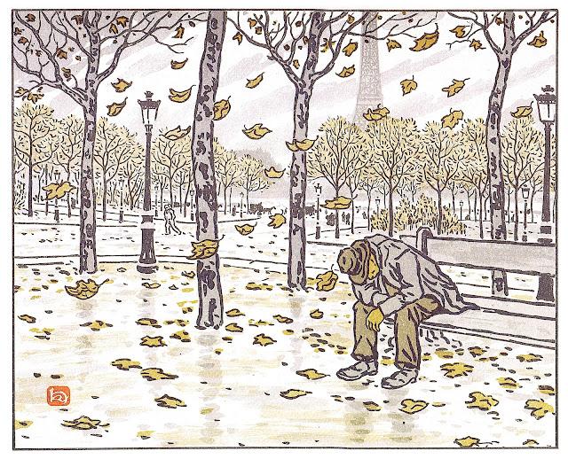 a Henri Rivière print of Paris in Autumn