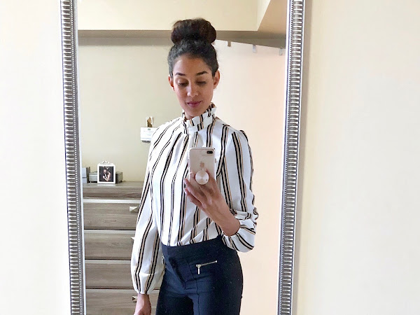 Fashion- Playing with Pinstripes: SheIn Frilled Collar Striped Top