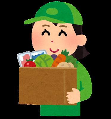 生鮮食品を運ぶ配達員のイラスト(女性)
