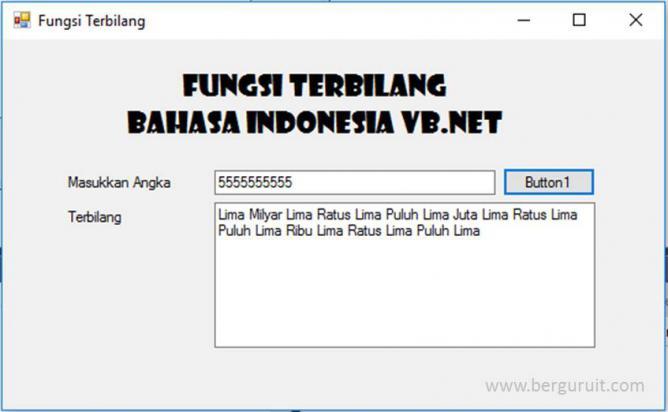 Fungsi Terbilang Bahasa Indonesia VB.Net, Result Fungsi terbilang VB.Net