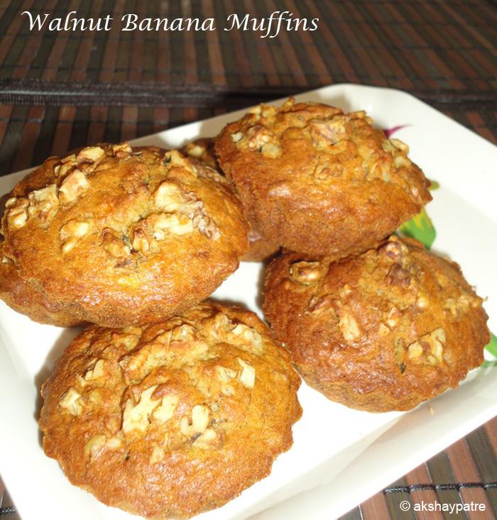 Walnut banana muffins ready to serve
