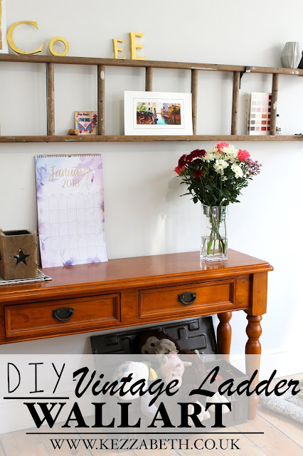 DIY vintage ladder wall art