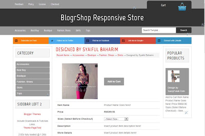 Product page responsive template store