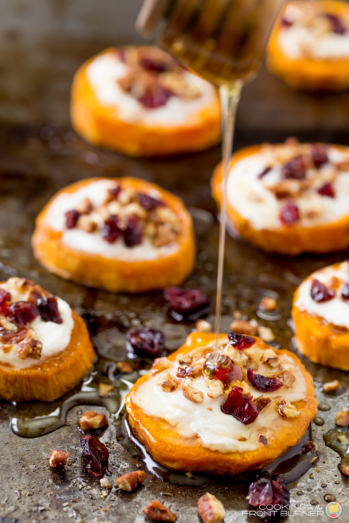 You are going to love these Sweet Potato Rounds with Goat Cheese appetizer!  They are perfect for all your holiday gatherings.
