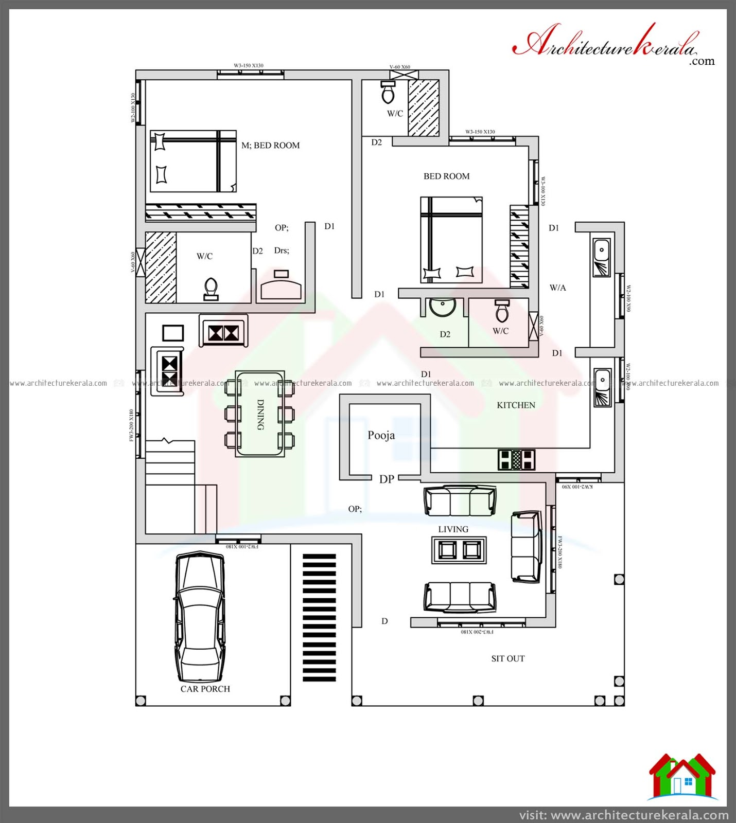 Stunning 4 bedroom kerala home design with pooja room free for Kerala style 2 bedroom house plans