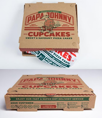 "Johnny Cupcakes x Papa John's Limited Edition ""Papa Johnny"" T-Shirt Custom Pizza Box Packaging"