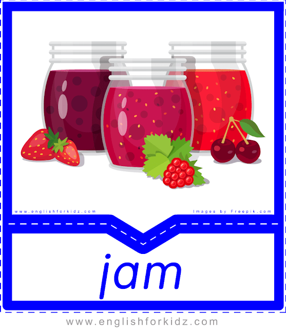 Jam - English food flashcards for ESL students