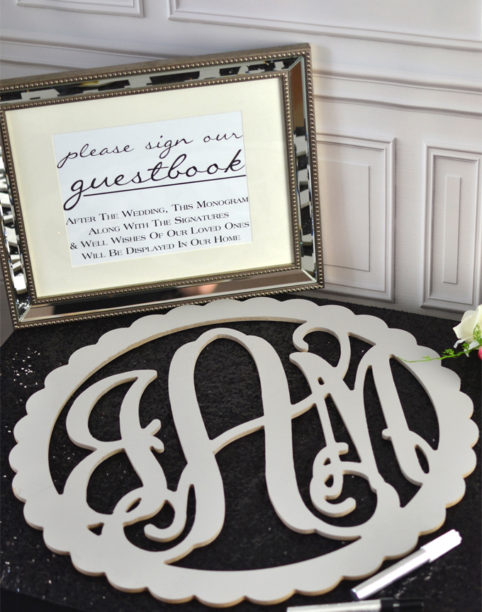 Wood Wedding Guest Book Monograms