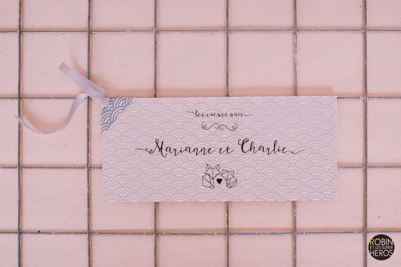 faire-part mariage graphique chic papier japonais fait main cadeau invité