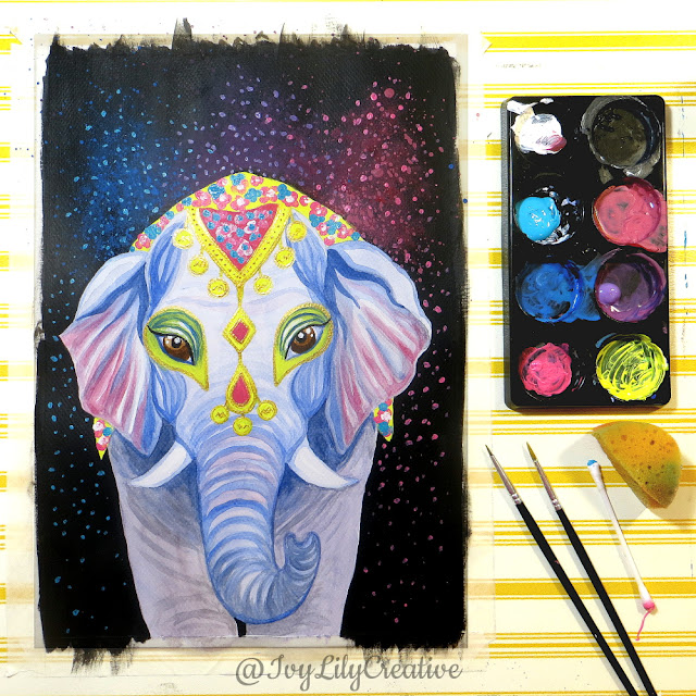 watercolor acrylic elephant painting