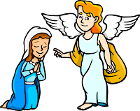 This is an illustration of Mary and Gabriel. Gabriel is giving Mary a message as she bows down before him. A friendly, positive image that children will love.