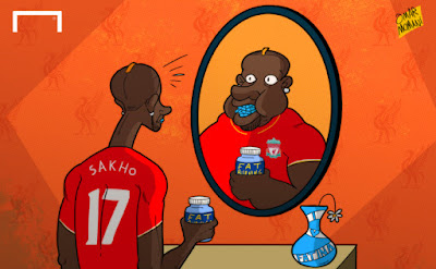 Cartoon fat Mamadou Sakho facing drugs ban