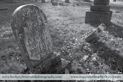 Cemetery Tombstones, Black and White Photography