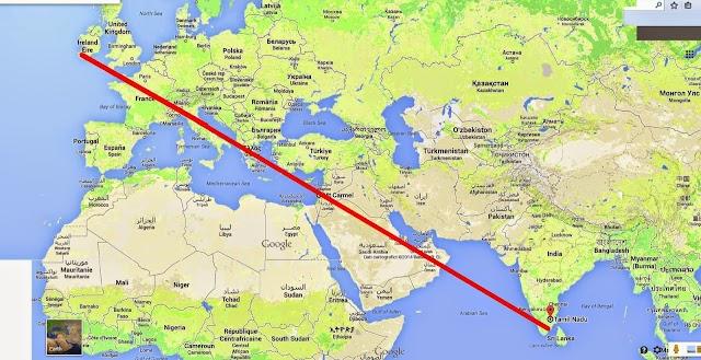 Các Ðền Thánh Micae làm thành đường thẳng trên bản đồ tựa thanh kiếm đuổi quỷ xuống hỏa ngục