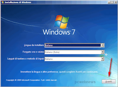 Installare Windows 7