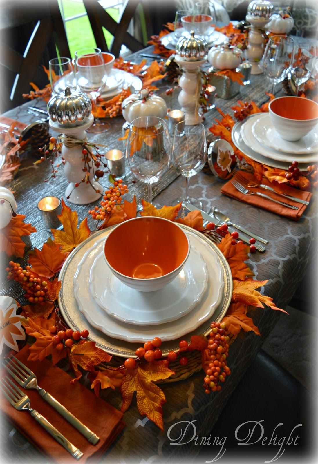 Dining Delight Fall Tablescape In Orange White Amp Gray
