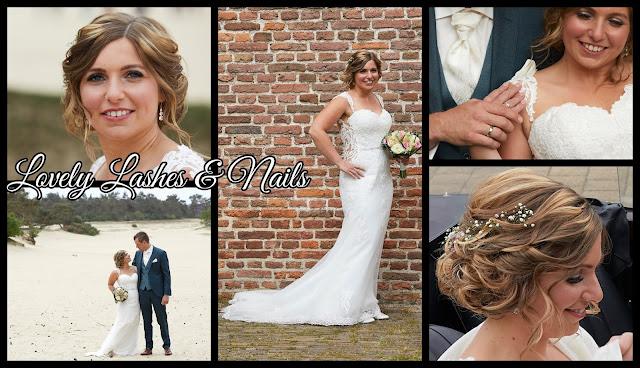 Trouwfoto's van een bruid met wimperextensions en nagels op www.lovelylashesnails.nl . De foto's zijn gemaakt in Elburg en gezet in Dronten