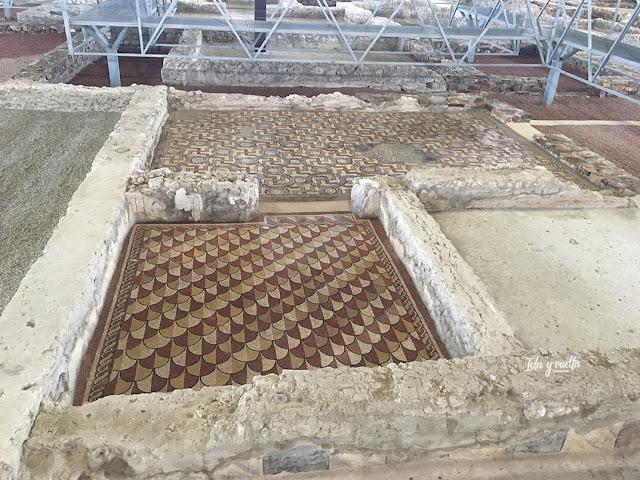 Diferentes suelos de mosaico en el Museo de las Villas