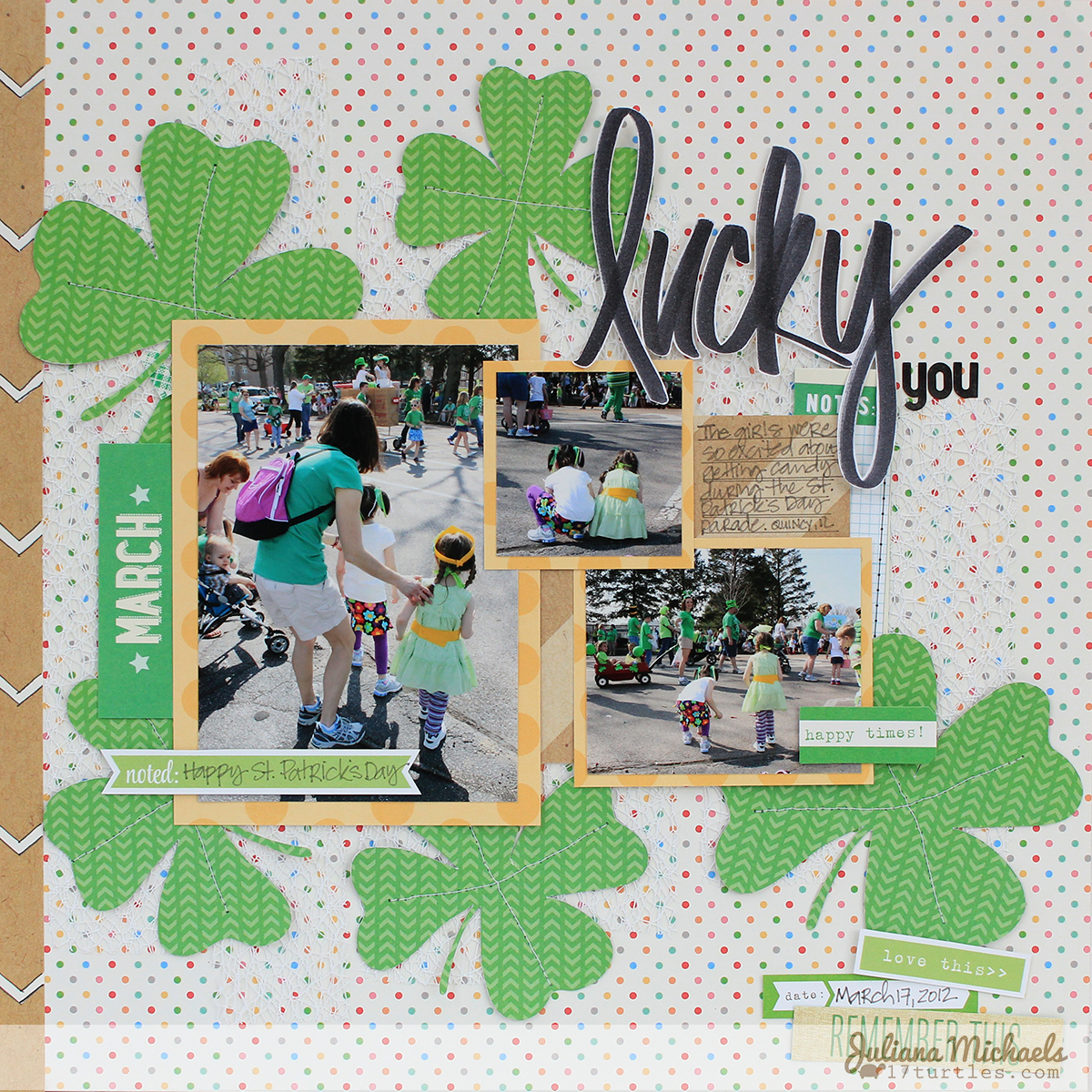 Lucky You Scrapbook Page for Elle's Studio by Juliana Michaels