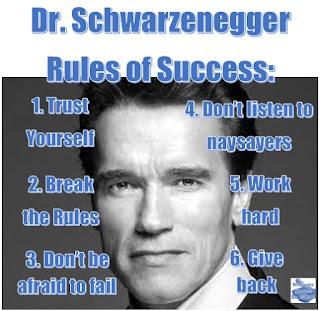Arnold Schwarzenegger 6 Rules of Success: 1. Trust Yourself; 2. Break The Rules; 3. Don't Be Afraid To Fail; 4. Don't Listen To Naysayers; 5. Work Hard; 6. Give Back.